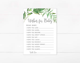 Wishes For Baby, Greenery, Digital Wishes for Baby, Baby Shower Printable, Botanical, Green Foliage, Instant Download