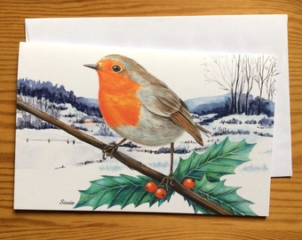 Illustrated European Robin Christmas greeting card