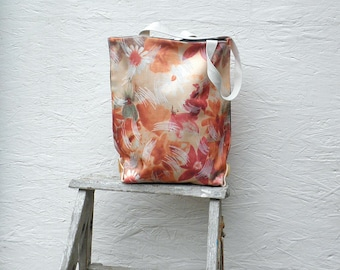 Flower Tote Bag. Vintage German Decoration Fabric. Colorful Abstract Flower Art. Market Bag with Off-White Handles and Buttons.