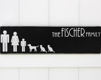 Family Silhouettes | Hand-Painted Wooden Sign | Wall Art | Established Sign | Family Picture | Stick Figures | Modern Established Sign