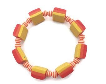 Beaded Bracelet - Ombre Bracelet - Orange Beaded Bracelet - Polymer Clay Beads - Striped Resin Beads - Orange Jewelry - Yellow Bracelet