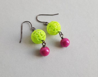 Neon bright vintage bead earrings