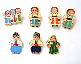 Traditional costumes enamel pins, metal badges, Vintage Soviet memorabilia 1970s 1980s, USSR Soviet republics Russia Ukraine Uzbekistan