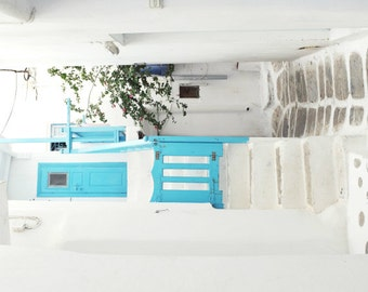 Greece photography white aqua blue turquoise wall art greece travel print architecture art 'House at the Corner'