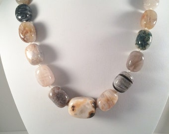 Chunky Agate Beaded Necklace, Gemstone necklace, Statement necklace, Chunky bead necklace, Agate necklace, Beaded jewelry,