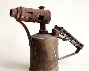Old Vintage Brass Rusty Metal and Brass Blow Torch Shed Find Project