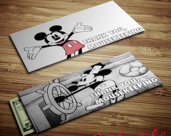 Printable Mousekeeping envelopes - Classic Mickey - Tip Envelopes - Instant Download