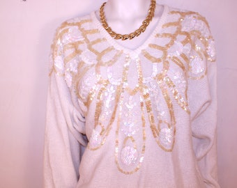 Vintage 80s sequined sweater. Womens Large. Acrylic sparkly 1980s fashion free shipping