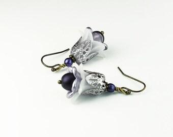 Lavender & White Flower Earrings, Vintage Style, Czech Glass Beads, Hand Painted Filigree