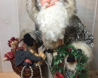 Handmade Santa- Old World Santa- Nonnas Santas- Christmas Santa-Santa Claus -Father Christmas-OOAK Santa-Art Doll-Sculpted Santa Christmas