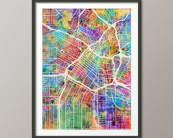 Los Angeles Map, Downtown Los Angeles California City Street Map, Art Print (2336)