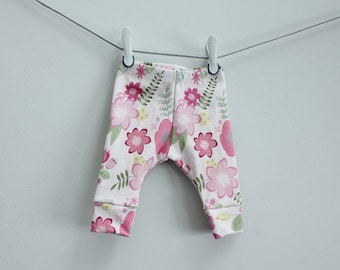 Baby leggings pink floral flower lavender 0-3 months Organic PETUNIAS modern newborn baby shower gift photo prop hospital outfit accessory