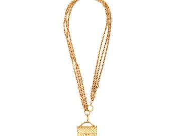 Authentic Vintage Chanel Gold Plated Triple Chain Bag Pendant Necklace