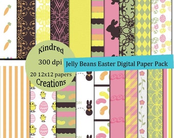 Jelly Beans Easter 12x12 300 dpi Digital 20 page Paper Pack