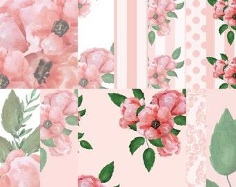 Flower digital paper, Floral printable paper, Peach floral paper, Scrapbook paper, Watercolor flowers paper, Digital background
