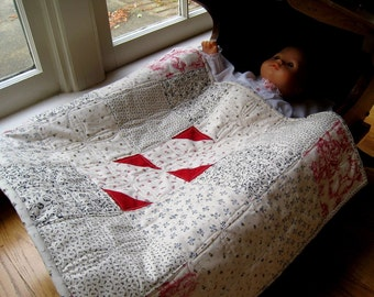 SALE -- Red, Black and Toile Small Doll Quilt