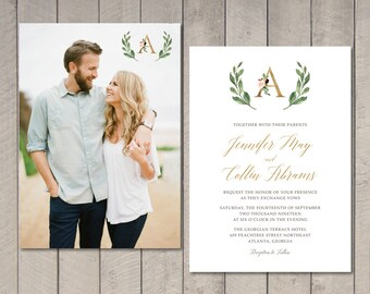 Floral Monogram Wedding Invitation, RSVP, Details Card (Printable) by Vintage Sweet