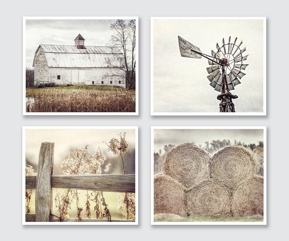 Farmhouse Decor Rustic Country Set of 4 Modern Farmhouse Decor