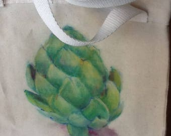 Beeswaxed, hand painted canvas tote bag