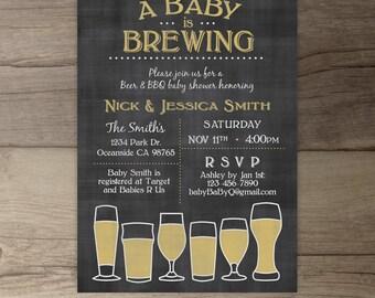 Baby is Brewing BaByQ Baby Shower Invitation / guy friendly / co-ed BBQ baby shower printable Invitation / chalkboard