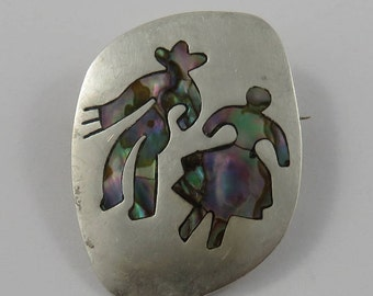 Sterling Silver Abalone Brooch Hecho en Mexico, signed A.P.O.