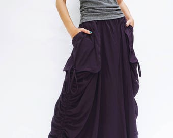 NO.123 Violet Cotton Jersey Mega Pocket Maxi Skirt