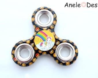 Spinner Hand Spinner - Unicorn - emoji Smiles yellow black school kids trendy glass cabochon
