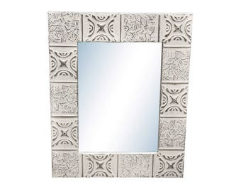 Basket Weave 16 in. x 22 in. Tin Mirror