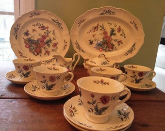 Wedgwood Williamsburg Potpourri Set of China Including 1 Platter 1 Dinner Plate 5 Cups Saucers 1 Cream 1 Sugar and lid Extra Saucer