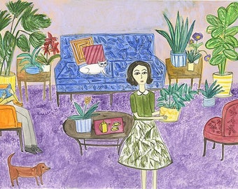 Georgia's passion for plants flourishes while Gerald withers away behind his book.   Limited edition print by Vivienne Strauss.