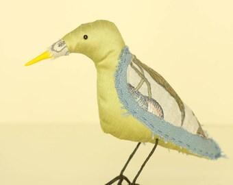 Green and Blue Bird soft sculpture textile art