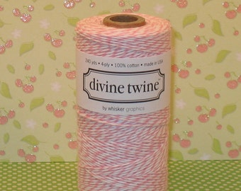 Bubble Gum Pink and White Divine Twine - 240 Yd Roll