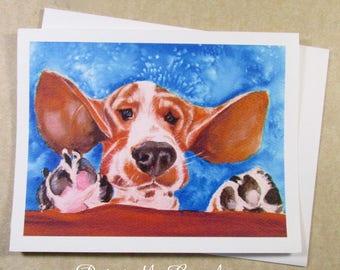 Basset Hound Birthday Card, Birthday Card with Basset Hound, Basset Greeting Card, Basset Lover Birthday Card, Funny Basset Hound Card