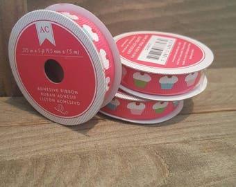 American Crafts 3/8 Adhesive Ribbon - Cupcake