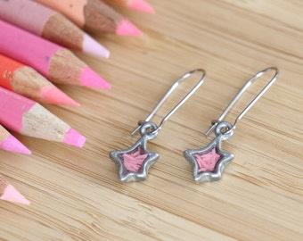 Earrings recycled Tin stars made with colored pencils in resin