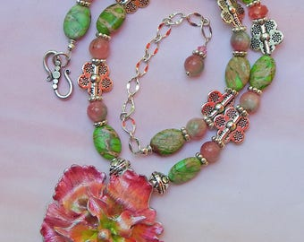 Boho Blooming Pink Flower Pendant Statement Necklace with Green Turquoise and Pink Jade with Adjustable Length Silver Chain Extender