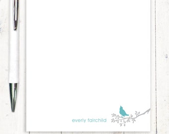personalized notePAD - BIRD ON BRANCH - stationery - stationary - letter writing paper - nature lover notepad