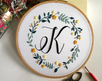 Monogram Embroidery Hoop, Embroidered Hoop Art, Custom Monogram Sign, Flower Embroidery Nursery Wall Art, Baby Shower Gift