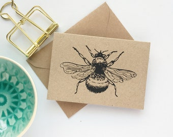Bee Notecards Gift Enclosure Cards Thank You Cards & envelopes 10pk Rustic thank you cards MINI SIZE with bee kraft thank you card set