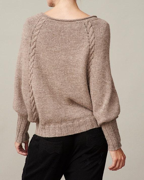 Womens Dolman Sleeve Sweater Pdf Knitting Pattern Cable Knit