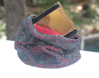 Victorian mourning hematite seed bead purse, clutch, pouch bag
