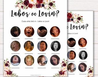 Marsala Labour or Lovin Game, Floral Baby Shower Games, Labour or Lovin, Lovin or Labour, Porn or Labour Game, Baby Shower, Labour or Porn