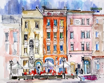 KRAKOW WATERCOLOR ART. Maly Rynek. Poland Old Town. Poland wall Art. Krakow City Painting. Original Watercolor Painting.