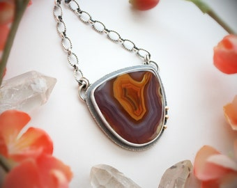 Of Butterflies and Blooms Necklace - Coyamito Agate, 14K Gold & Sterling Silver Pendant - Statement Designer Stone Jewelry