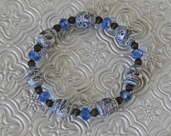 Handmade Paper Bead Bracelet - Singing the Blues