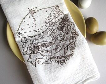 Tea Towel - Screen Printed Flour Sack Towel - Kitchen Towel - Eco Friendly Cotton Towel - Deli Sandwich - Classic Flour Sack Towel