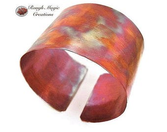 Extra Wide Cuff Copper Bracelet, Hammered Copper, Textured Metal, 2 inch Wide Cuff, Flame Washed Patina, Primitive Rustic Minimalist Jewelry