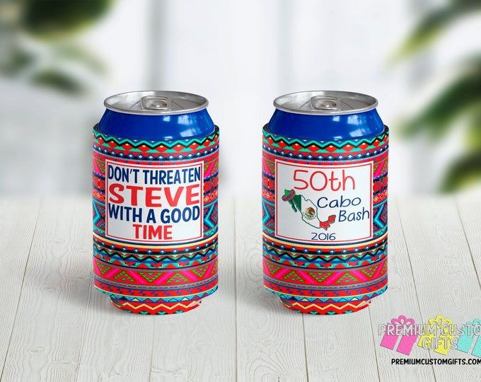 50th Birthday Can Coolers - Personalized Can Cooler - Birthday Party Favors - Can Coolies -  Custom Party Favors - Destination Can Coolers