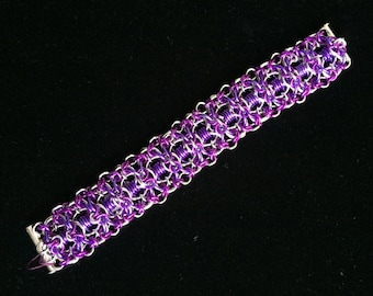 An Intricate Chainmaille Bracelet with Purple, Violet and Silver Aluminum Rings. Handmade