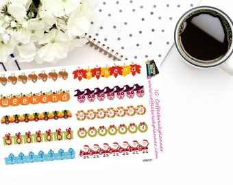 Planner Stickers|Holiday Weekend Banner Stickers|Fun Weekend Banner Stickers|Seaonal Weekend Banner stickers|WB001